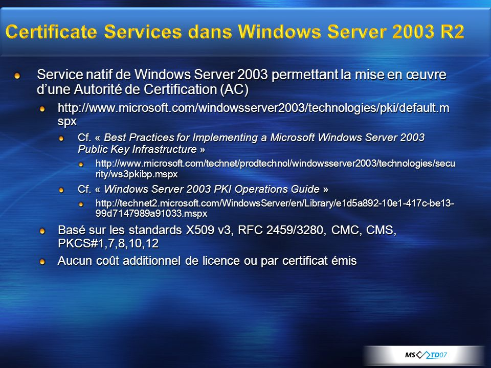 Certificate Services dans Windows Server 2003 R2