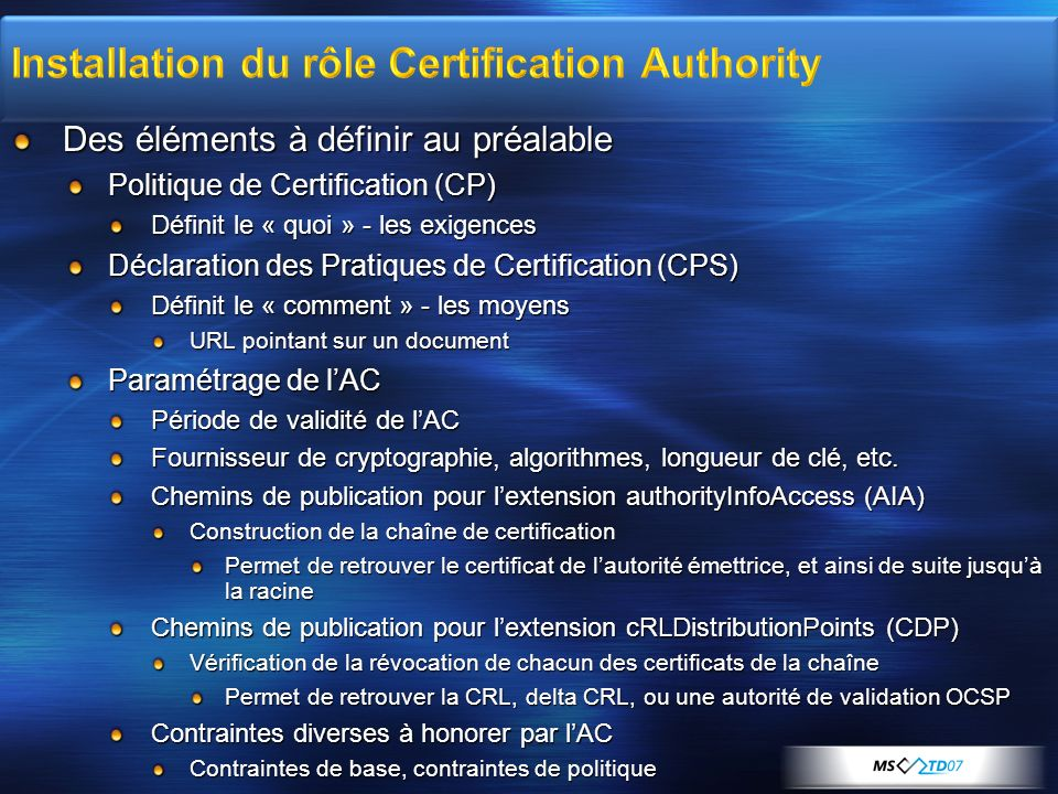 Installation du rôle Certification Authority
