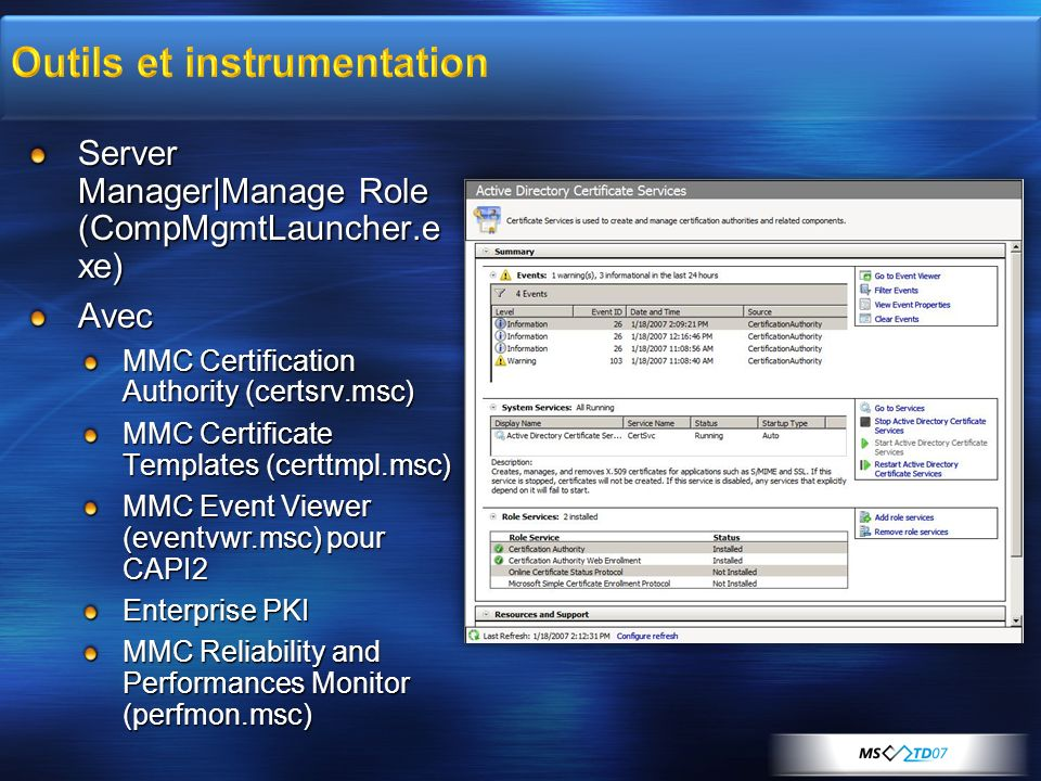 Outils et instrumentation