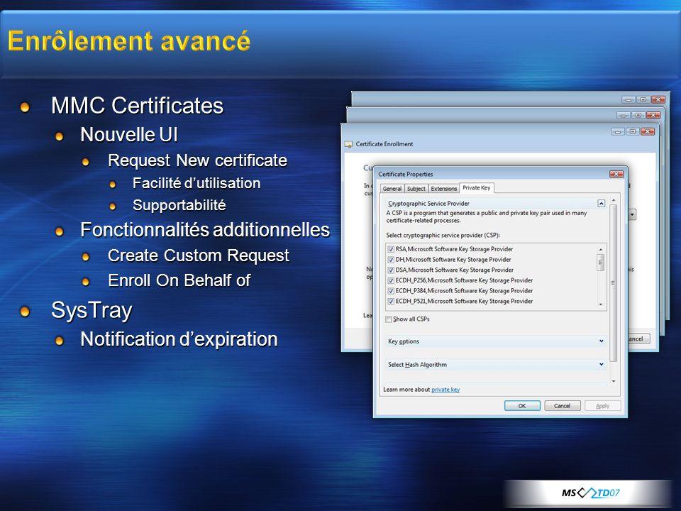 Enrôlement avancé MMC Certificates SysTray Nouvelle UI