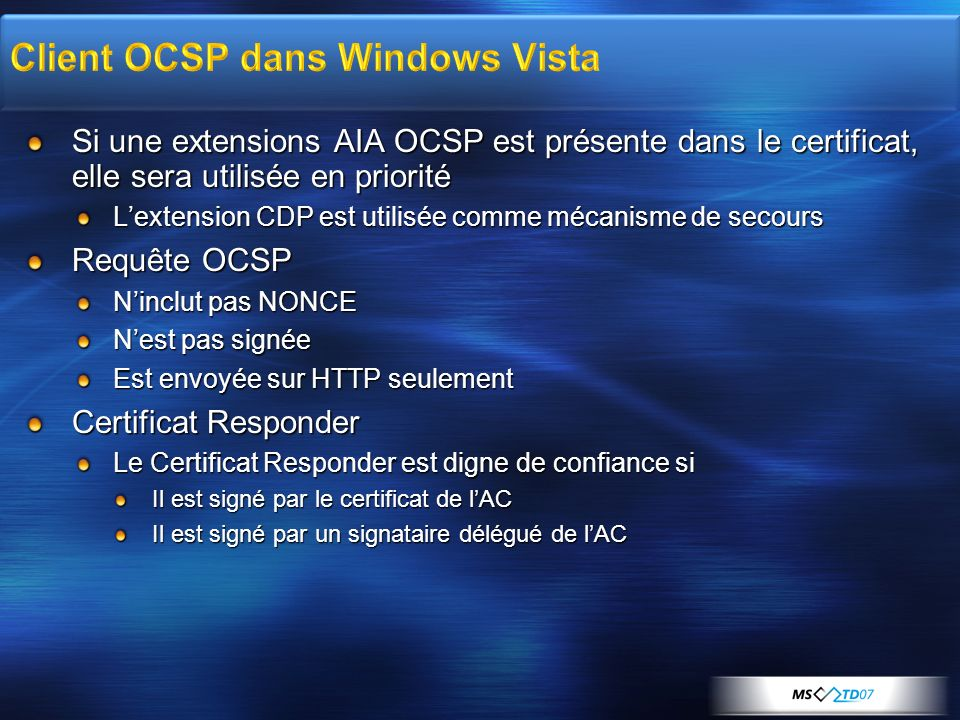 Client OCSP dans Windows Vista