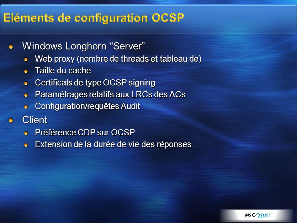 Eléments de configuration OCSP