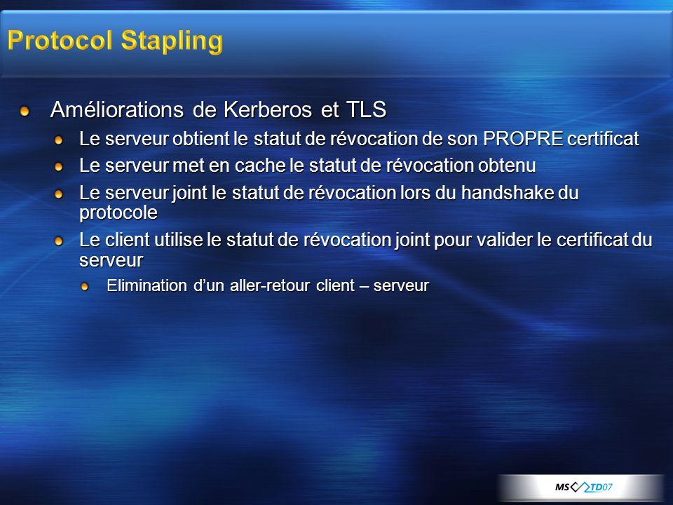 Protocol Stapling Améliorations de Kerberos et TLS