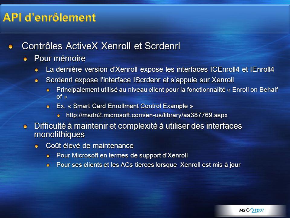 API d'enrôlement Contrôles ActiveX Xenroll et Scrdenrl Pour mémoire