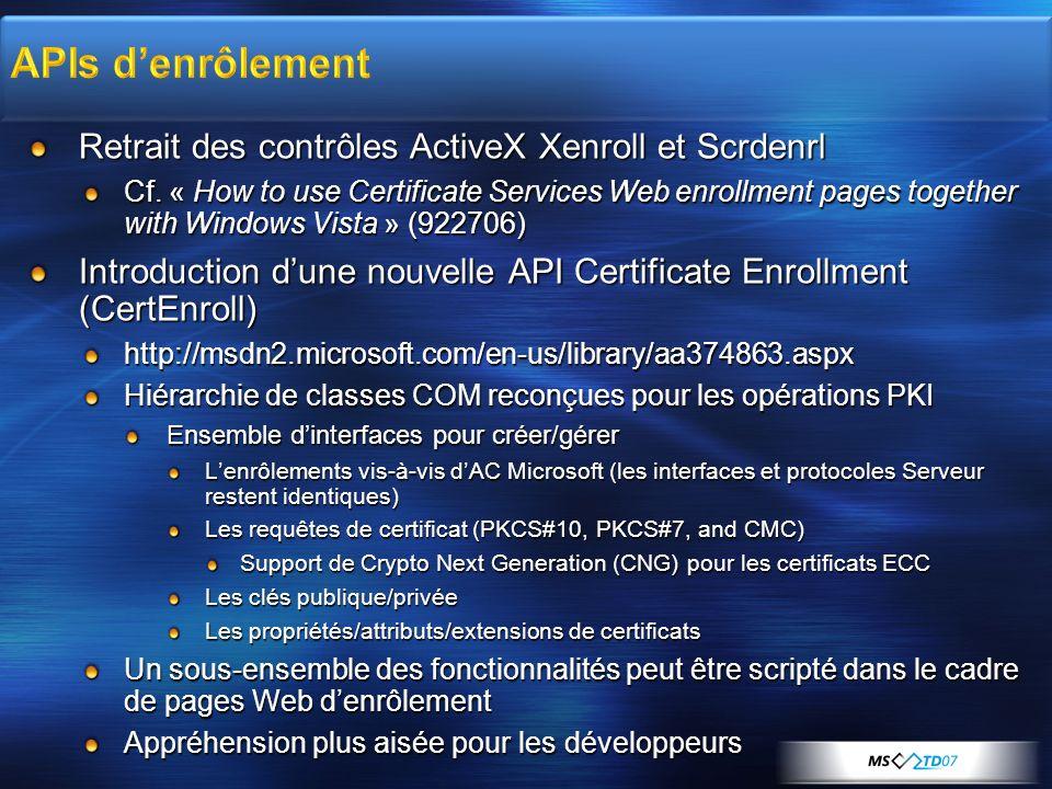 APIs d'enrôlement Retrait des contrôles ActiveX Xenroll et Scrdenrl