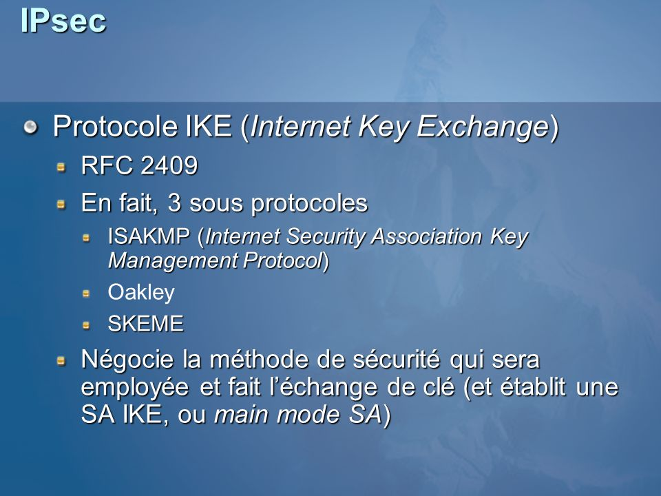 IPsec Protocole IKE (Internet Key Exchange) RFC 2409