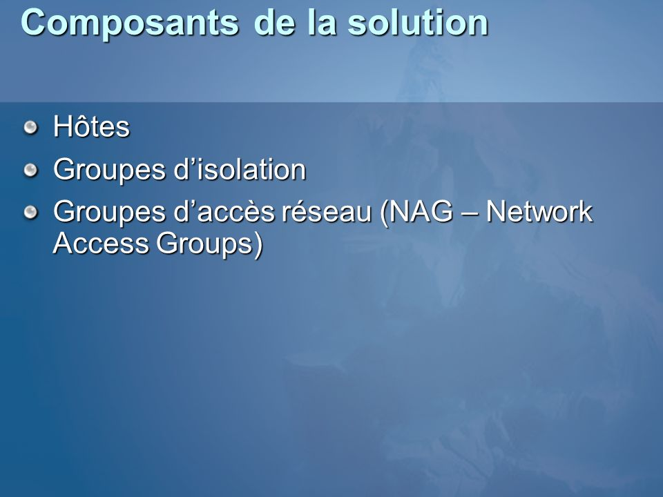 Composants de la solution