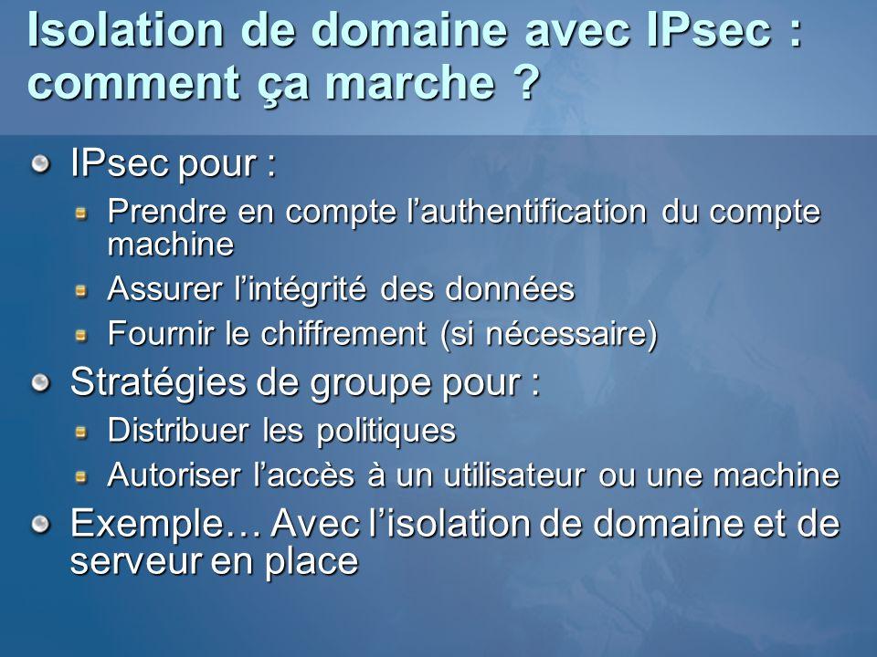 Isolation de domaine avec IPsec : comment ça marche