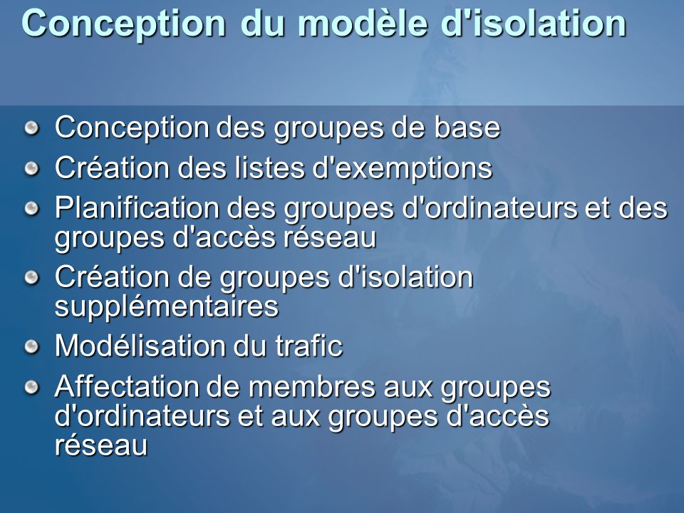 Conception du modèle d isolation