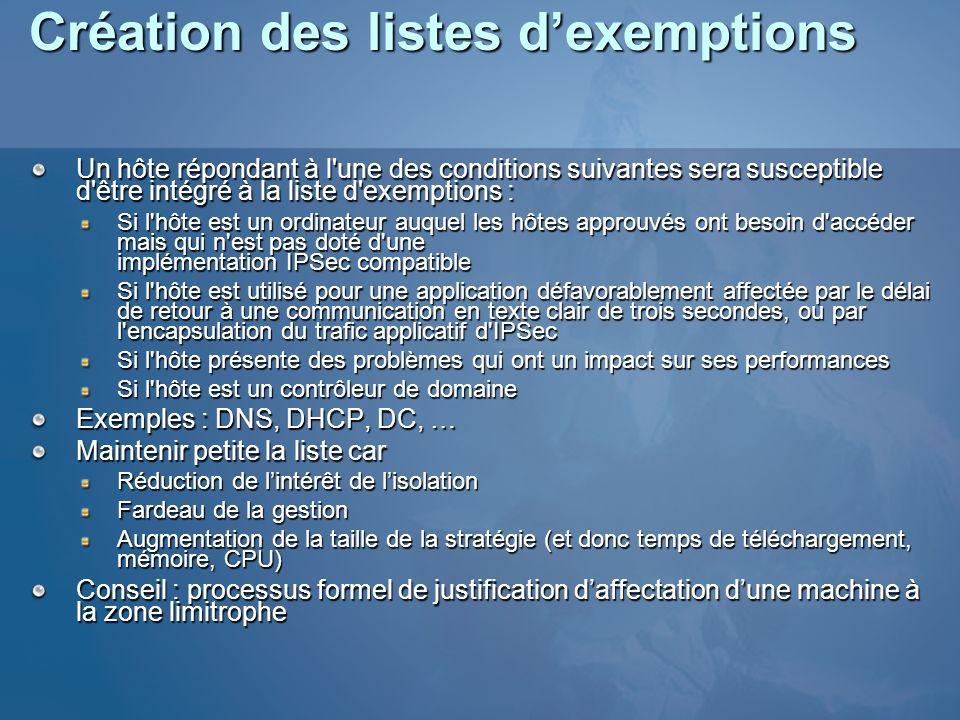 Création des listes d'exemptions