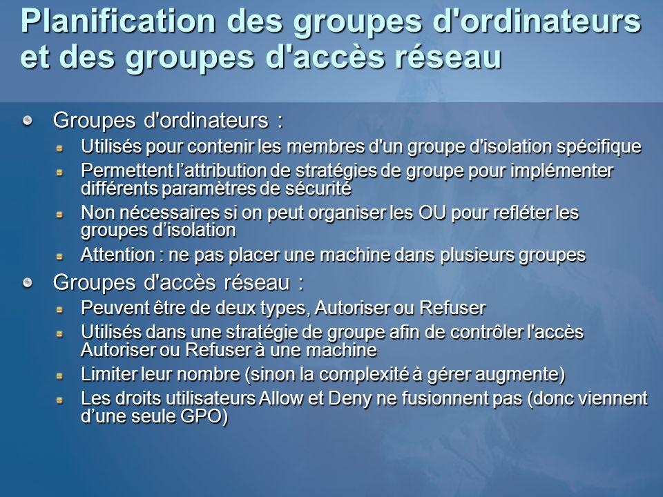 Planification des groupes d ordinateurs et des groupes d accès réseau