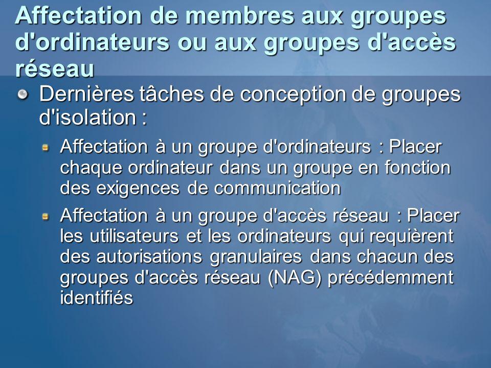 Affectation de membres aux groupes d ordinateurs ou aux groupes d accès réseau