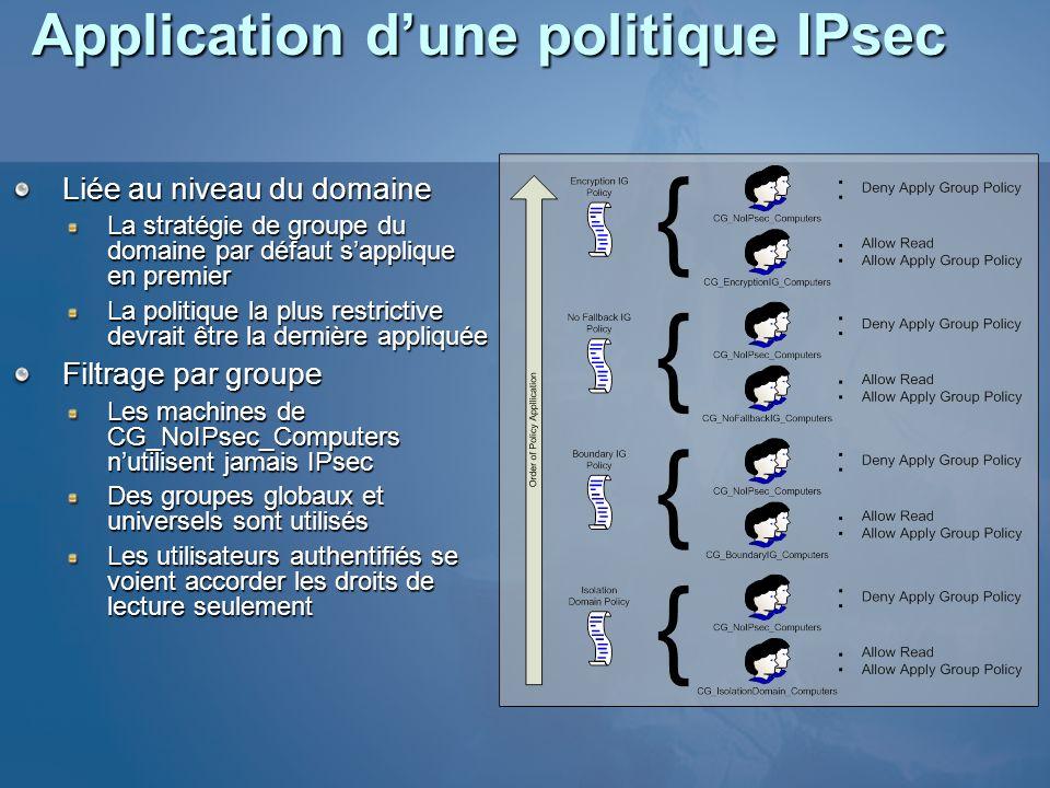 Application d'une politique IPsec