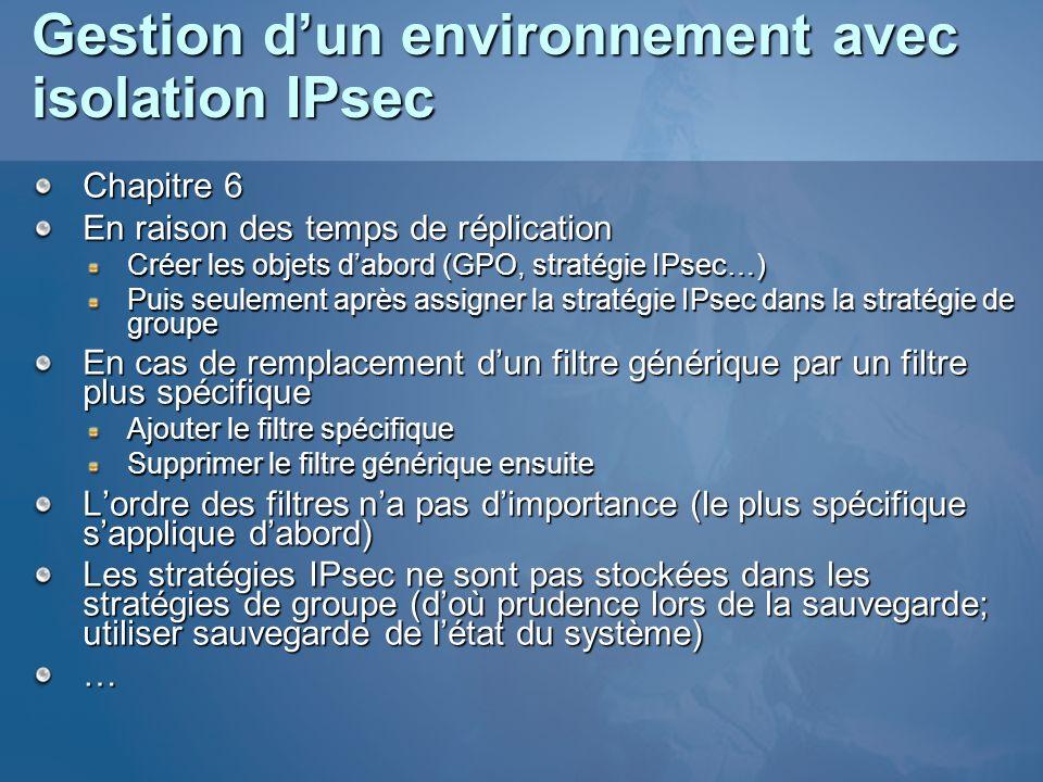 Gestion d'un environnement avec isolation IPsec