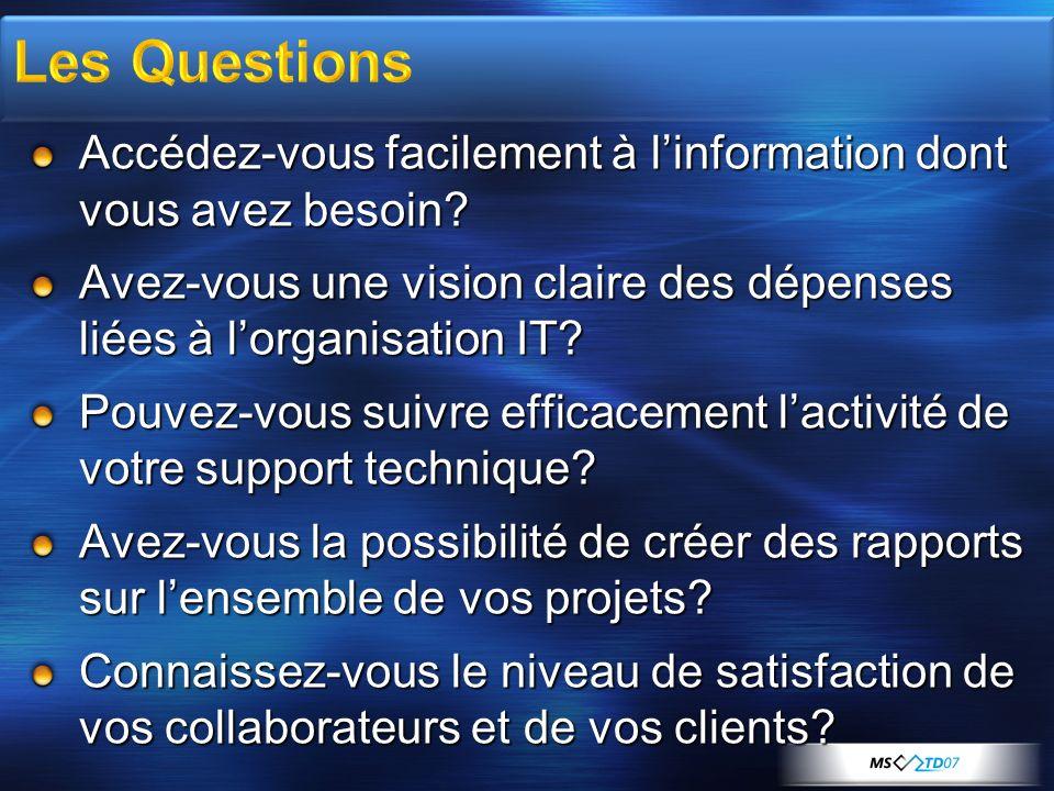 Les Questions Accédez-vous facilement à l'information dont vous avez besoin Avez-vous une vision claire des dépenses liées à l'organisation IT
