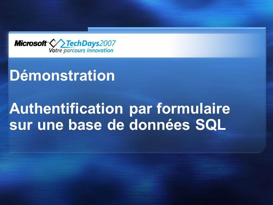 Demo Démonstration Authentification par formulaire sur une base de données SQL
