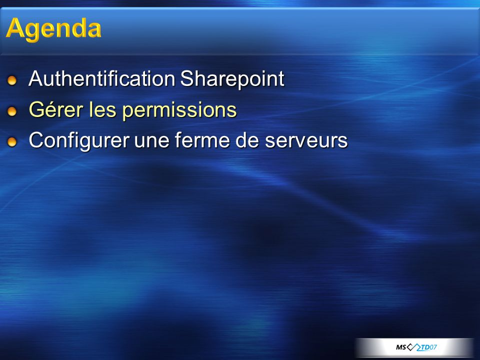 Agenda Authentification Sharepoint Gérer les permissions