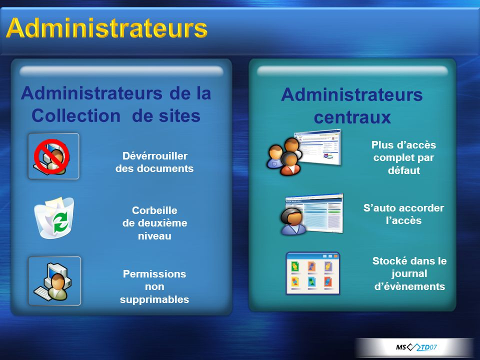 Administrateurs Administrateurs de la Administrateurs centraux