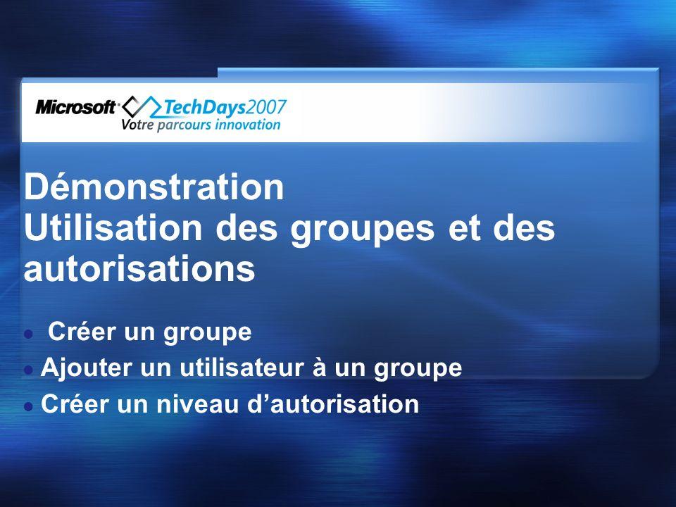Utilisation des groupes et des autorisations