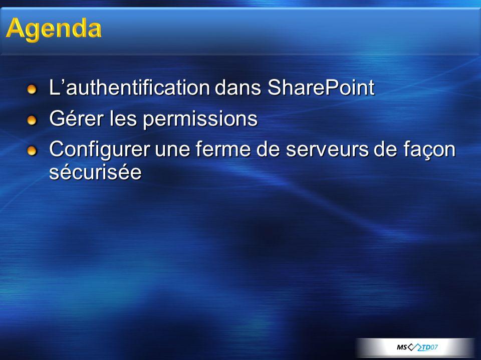 Agenda L'authentification dans SharePoint Gérer les permissions