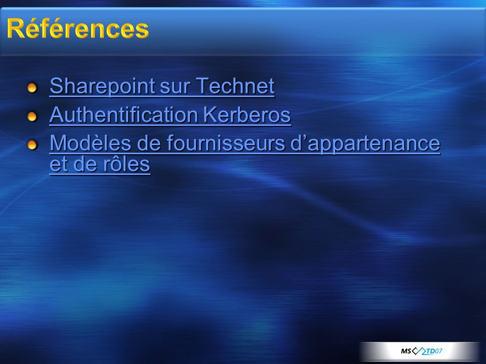 Références Sharepoint sur Technet Authentification Kerberos