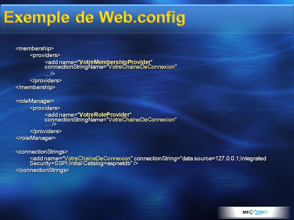 Exemple de Web.config <membership> <providers>