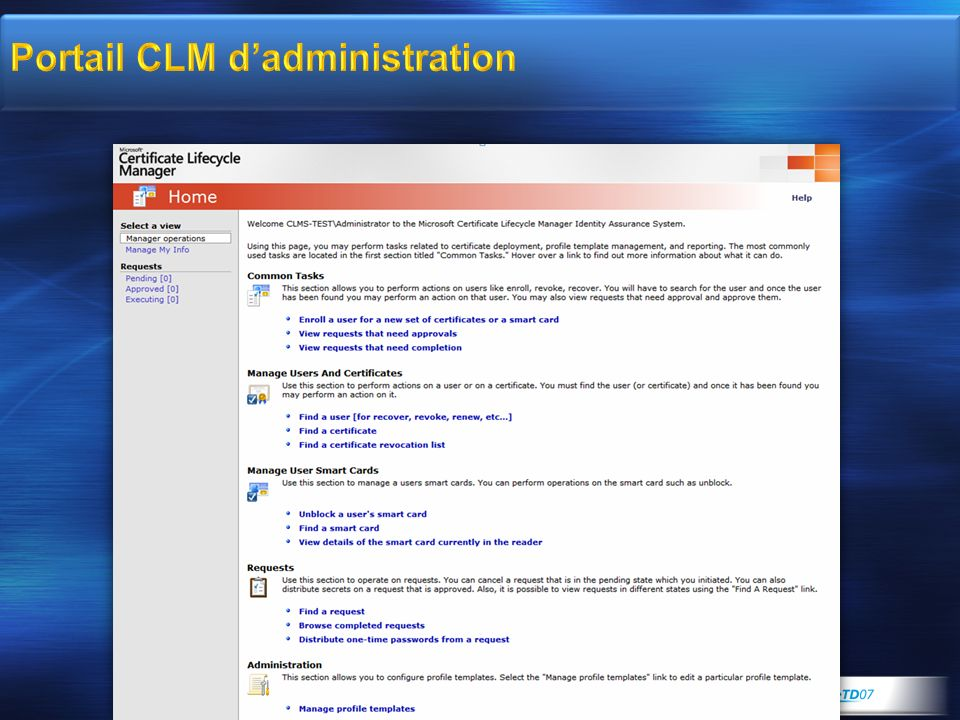 Portail CLM d'administration