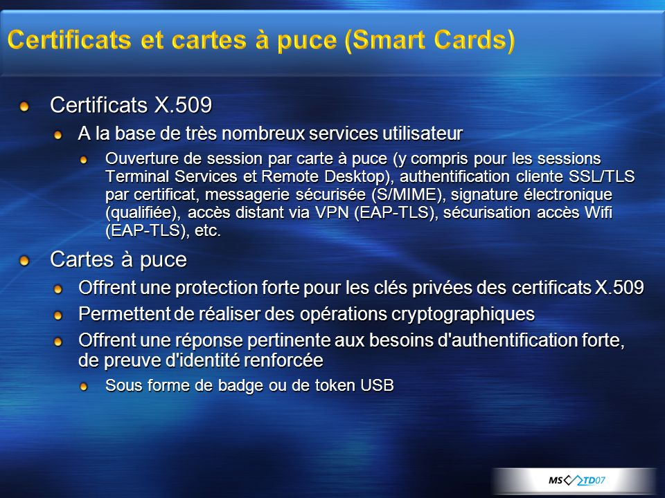 Certificats et cartes à puce (Smart Cards)