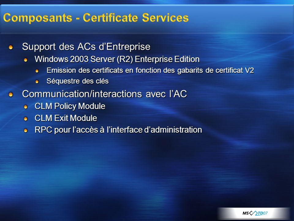 Composants - Certificate Services