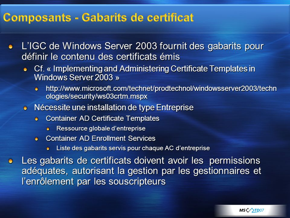 Composants - Gabarits de certificat