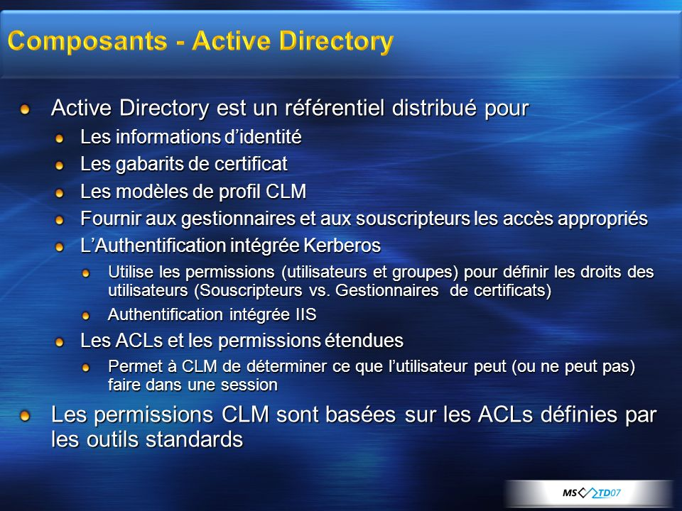 Composants - Active Directory