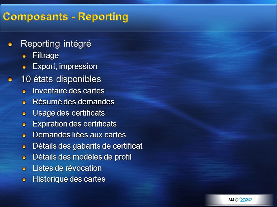 Composants - Reporting
