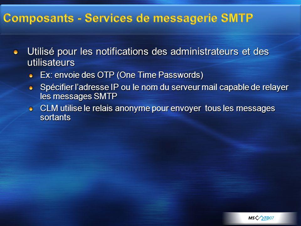 Composants - Services de messagerie SMTP