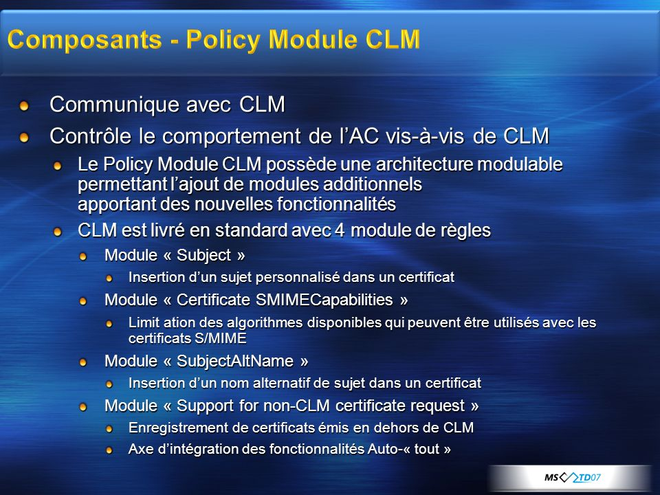 Composants - Policy Module CLM