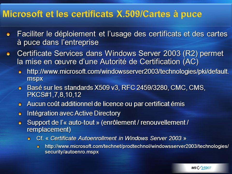 Microsoft et les certificats X.509/Cartes à puce