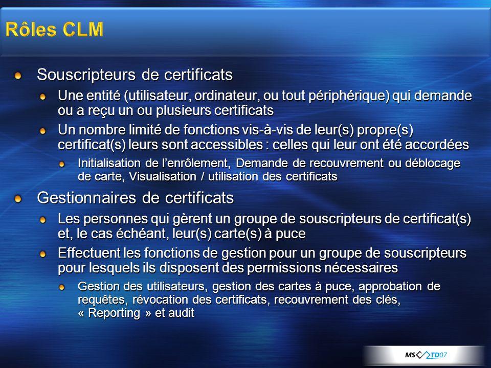 Rôles CLM Souscripteurs de certificats Gestionnaires de certificats