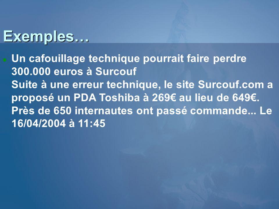 3/26/2017 3:56 PM Exemples… Un cafouillage technique pourrait faire perdre 300.000 euros à Surcouf.