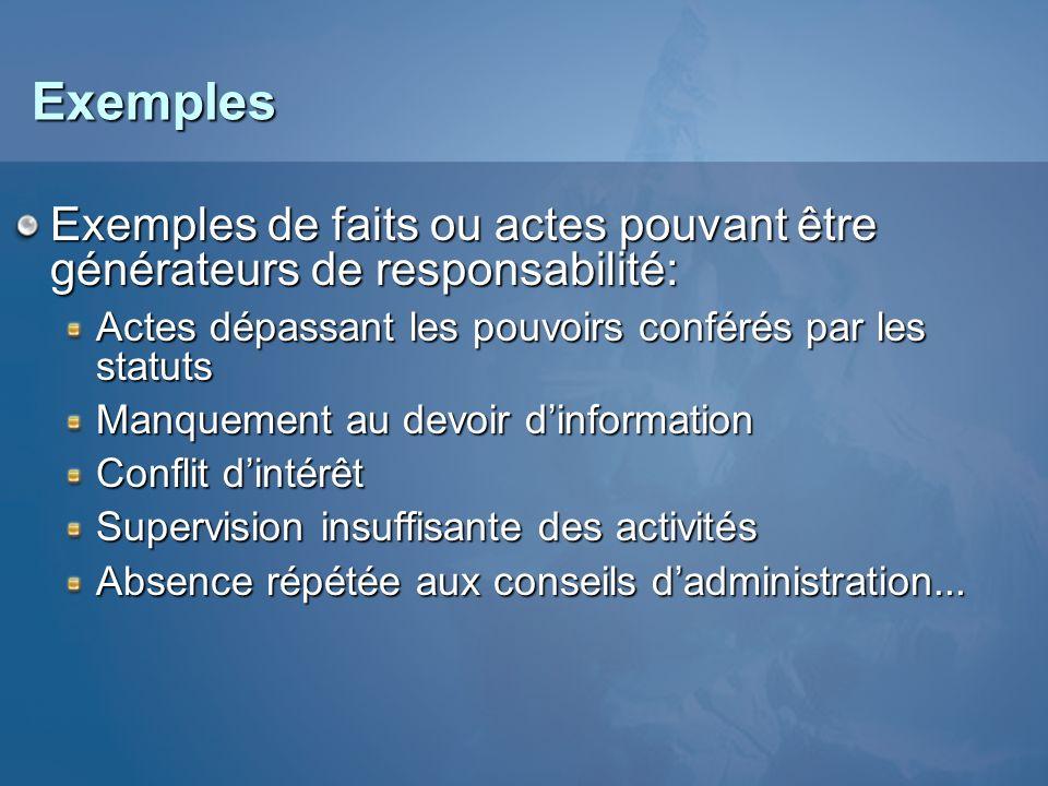 Exemples Exemples de faits ou actes pouvant être générateurs de responsabilité: Actes dépassant les pouvoirs conférés par les statuts.