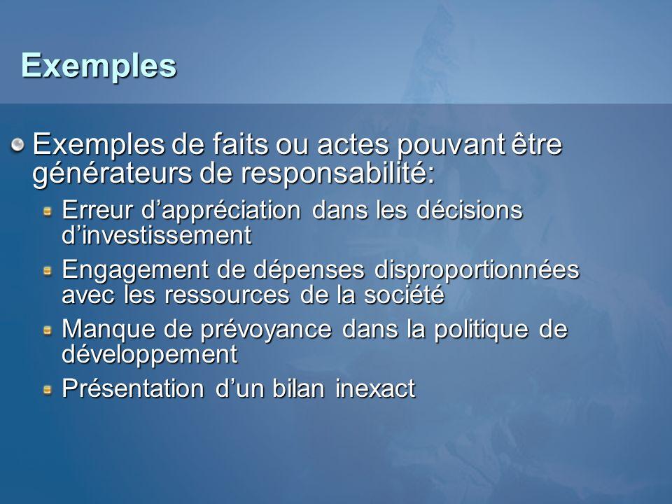 Exemples Exemples de faits ou actes pouvant être générateurs de responsabilité: Erreur d'appréciation dans les décisions d'investissement.