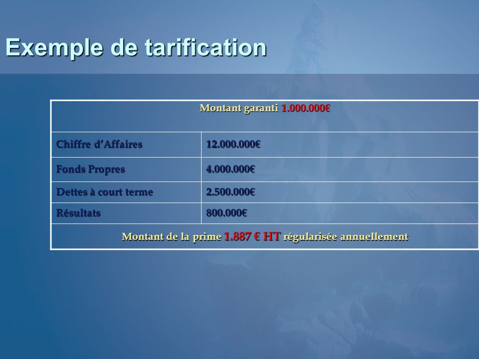 Exemple de tarification
