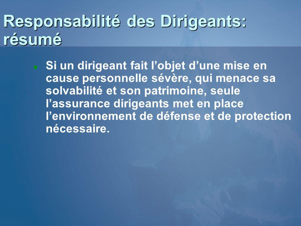 Responsabilité des Dirigeants: résumé