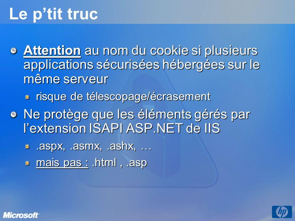 Le p'tit truc Attention au nom du cookie si plusieurs applications sécurisées hébergées sur le même serveur.