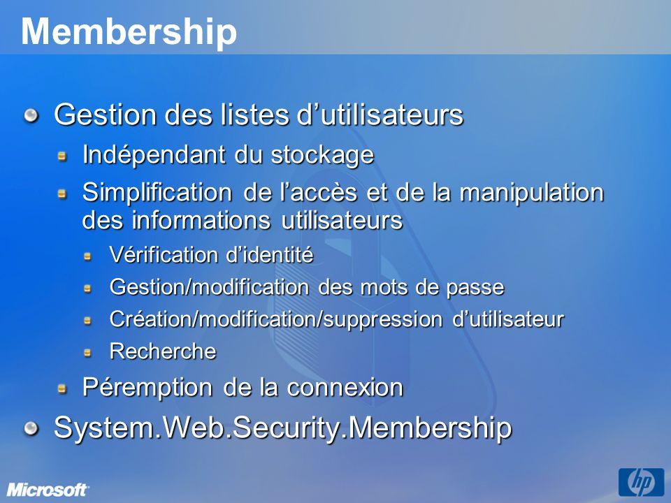 Membership Gestion des listes d'utilisateurs