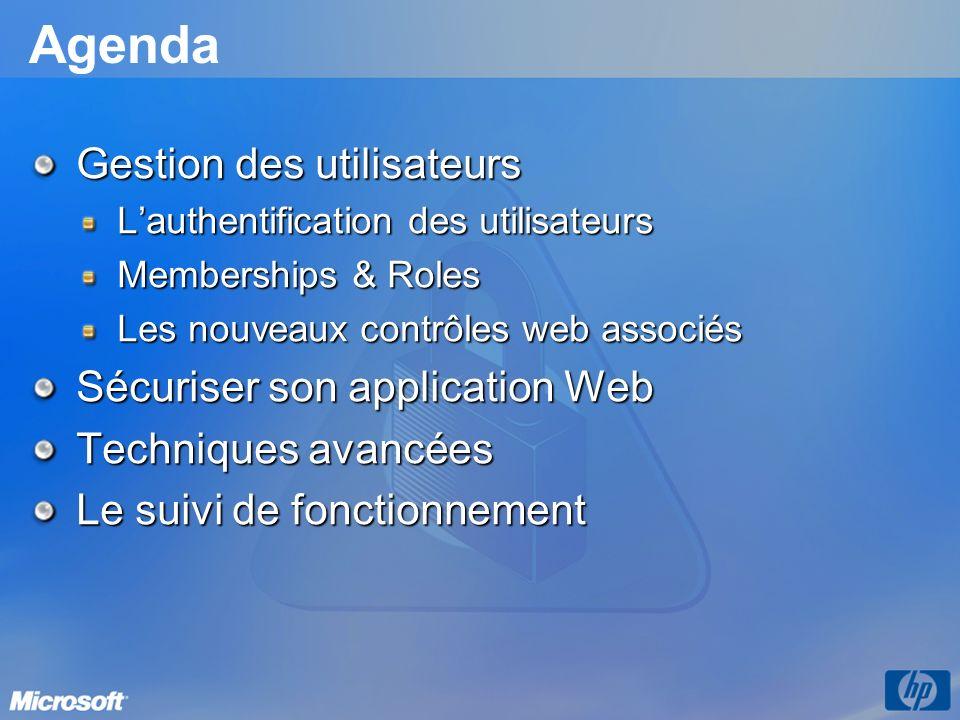 Agenda Gestion des utilisateurs Sécuriser son application Web