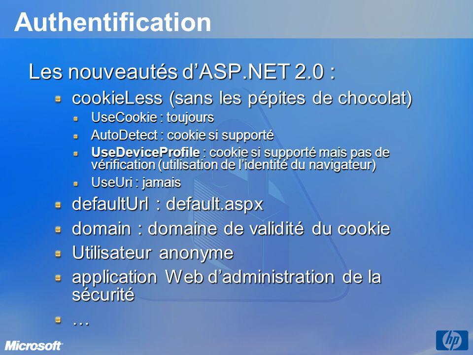 Authentification Les nouveautés d'ASP.NET 2.0 :