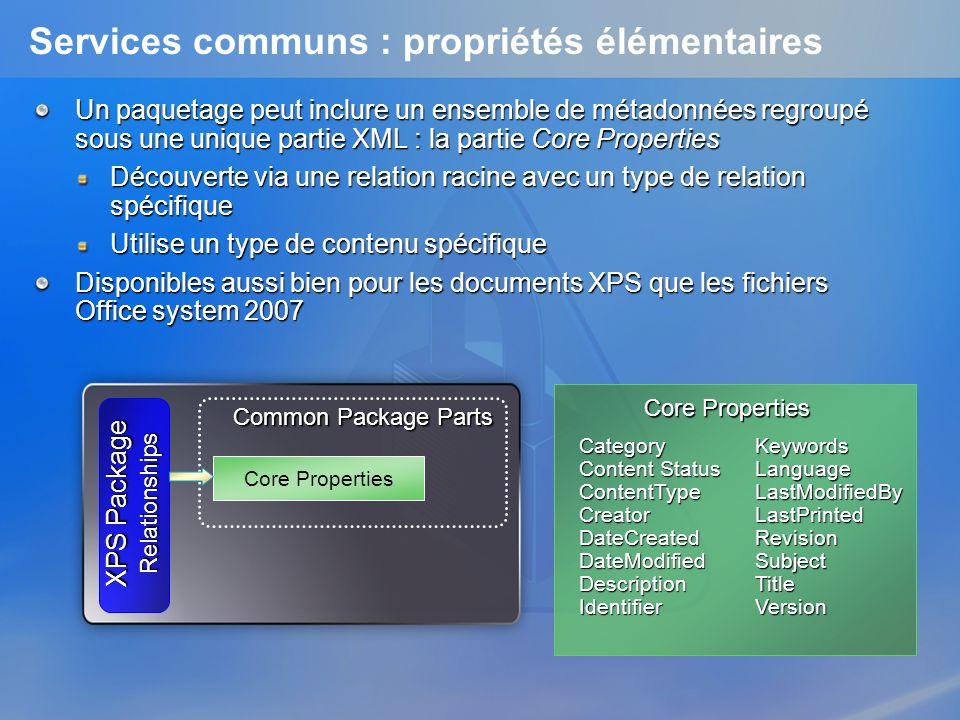 Services communs : propriétés élémentaires