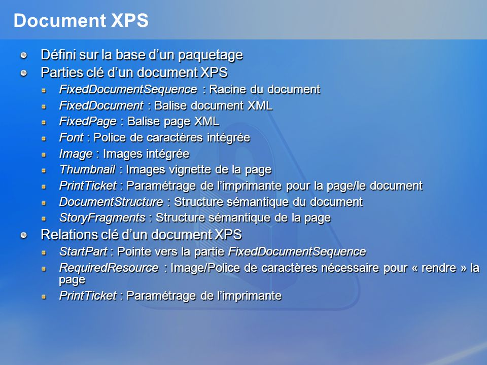 Document XPS Défini sur la base d'un paquetage