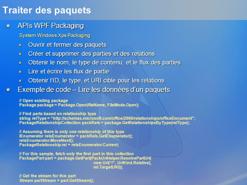 Traiter des paquets APIs WPF Packaging