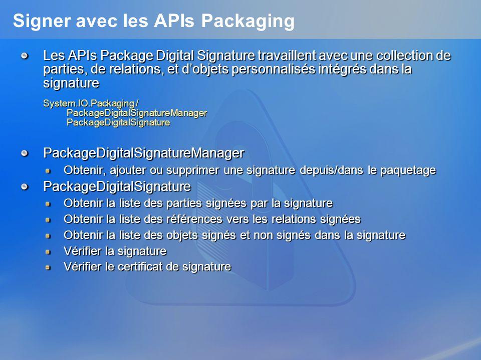 Signer avec les APIs Packaging