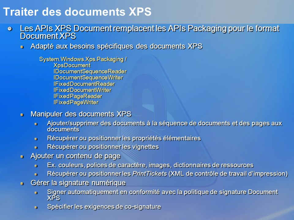 Traiter des documents XPS